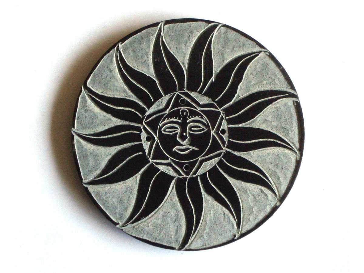 Black Soapstone Incense Holder - SUN