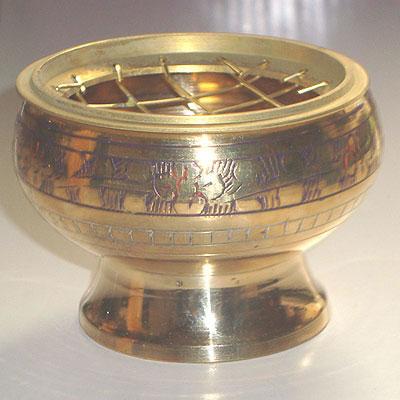 Brass Charcoal Burner / Incense Holder with Mesh