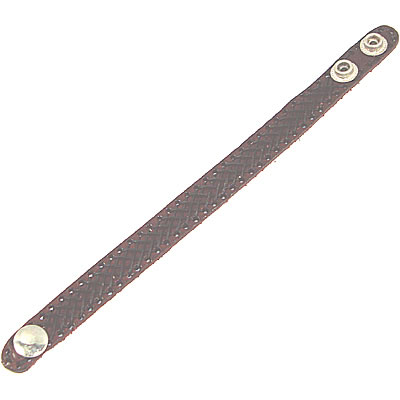 Leather Wristband - NARROW CROSS PATTERN BROWN