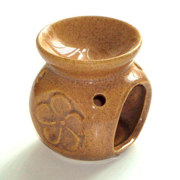 Small Oil Burner - Flower - Brown