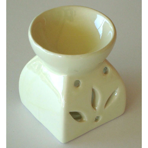Small Oil Burner - Square Leaf - Cream