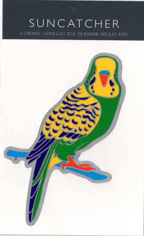 Decal / Window Sticker - Suncatcher GREEN BUDGERIGAR