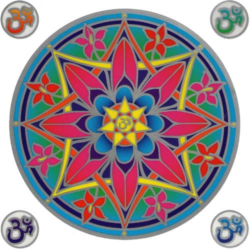 Decal / Window Sticker - Sunseal OHM FLOWER MANDALA