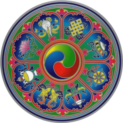 Decal / Window Sticker - Sunseal TIBETAN AUSPICIOUS SYMBOLS