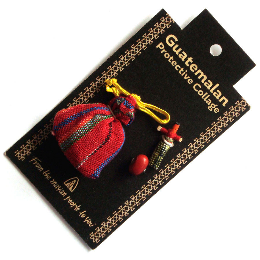 Guatemalan PROTECTIVE TALISMAN with Worry Doll and Lucky Bean
